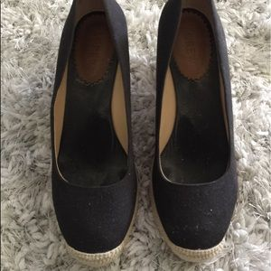 j crew espadrille wedges black great condition